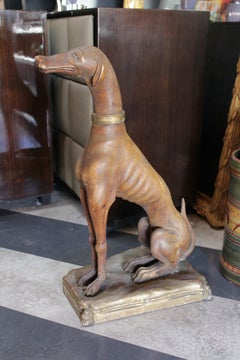 Rare Italian Hand-Carved Wooden Dog