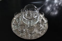 Martini Set Consisting of Pitcher, Tray, Nine Glasses and Stirrer