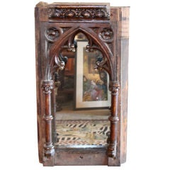 19th Century English carved wooden fragment with mirror.