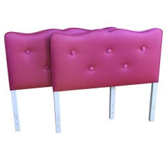Pair of Twin Headboards in Raspberry Silk