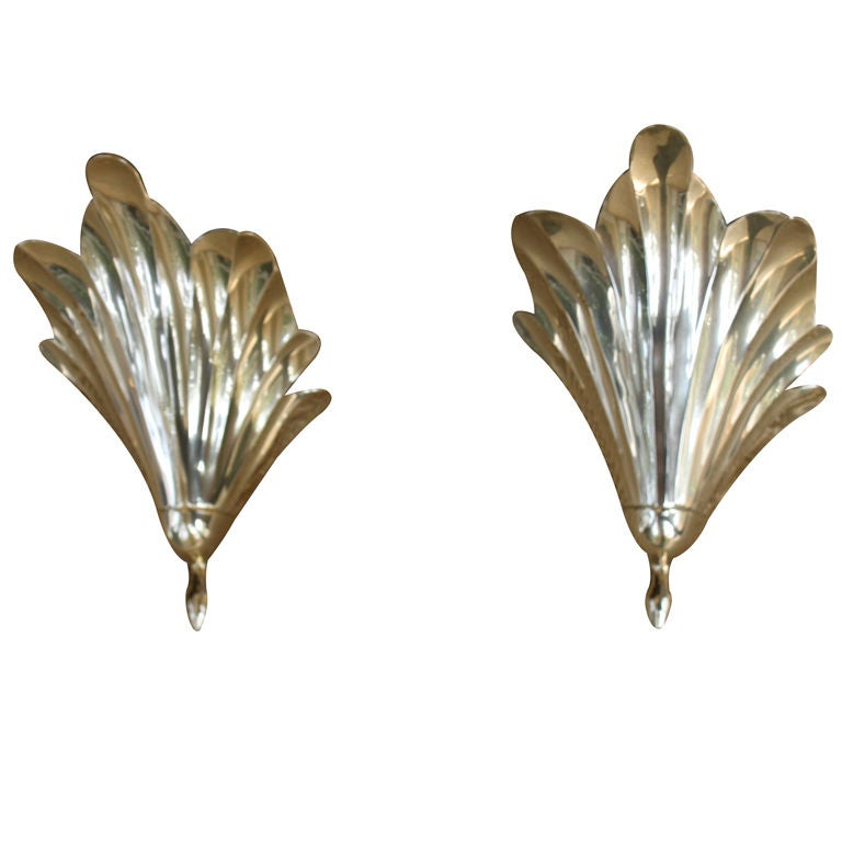 Pair of Brass Wall Pockets For Sale