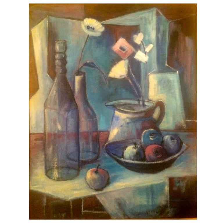 Mid-Century Acrylic Painting on Canvas by Redfearn For Sale