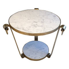 Mid-Century Wrought Iron Table in White Gold Leaf and Marble
