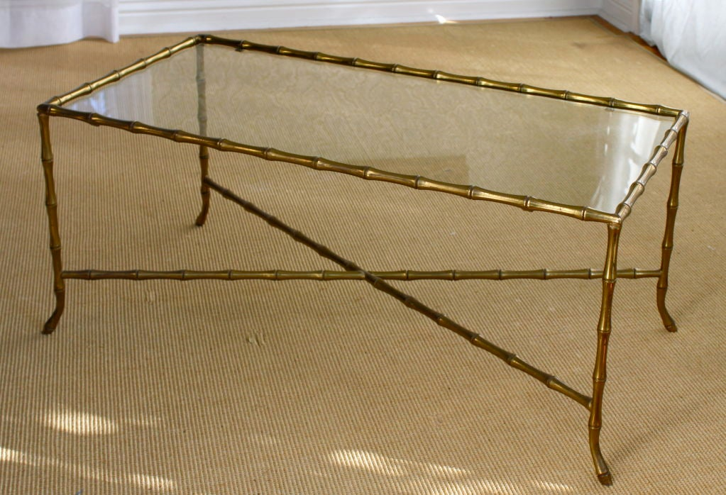 Brass And Glass Bamboo Coffee Table In The Style Of Jansen At 1stdibs