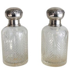Pair of Henri Lapeyre Petite Crystal and Sterling .950 Decanters
