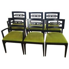 Six Mid-Century Greek Key Chairs