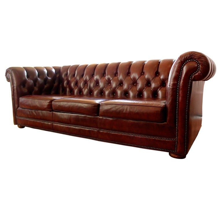 Red Leather 7 Chesterfield Sofa At 1stdibs