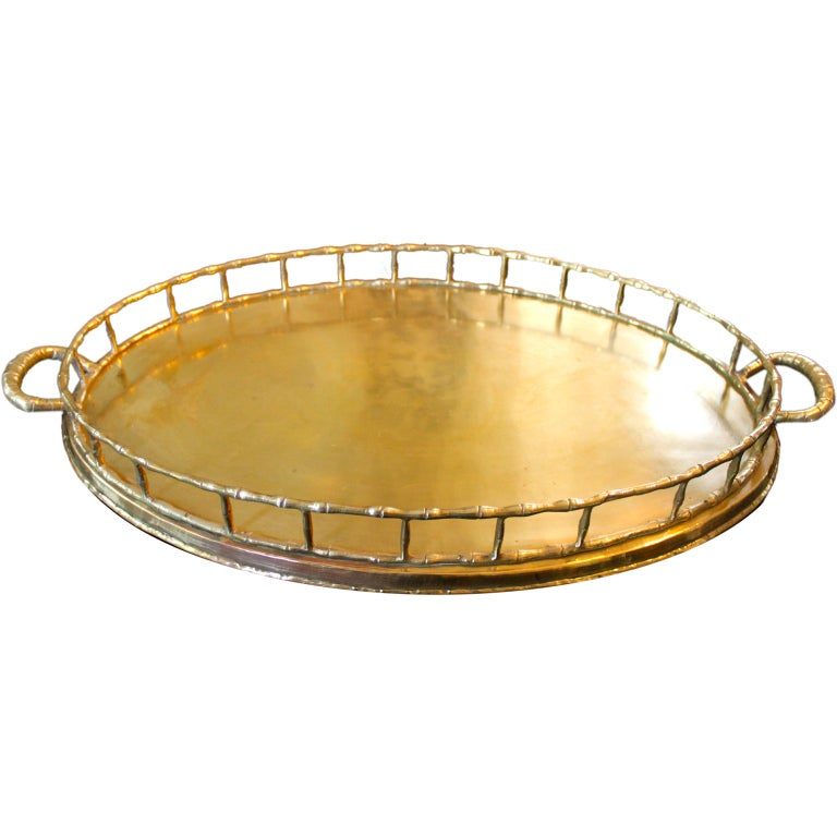 Brass Bamboo Oval Tray At 1stdibs