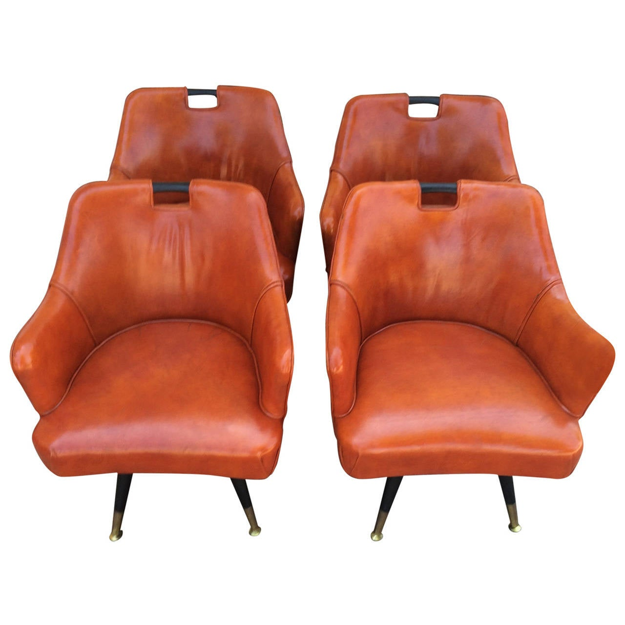 Four Mid Century Leather Game Table Chairs At 1stdibs