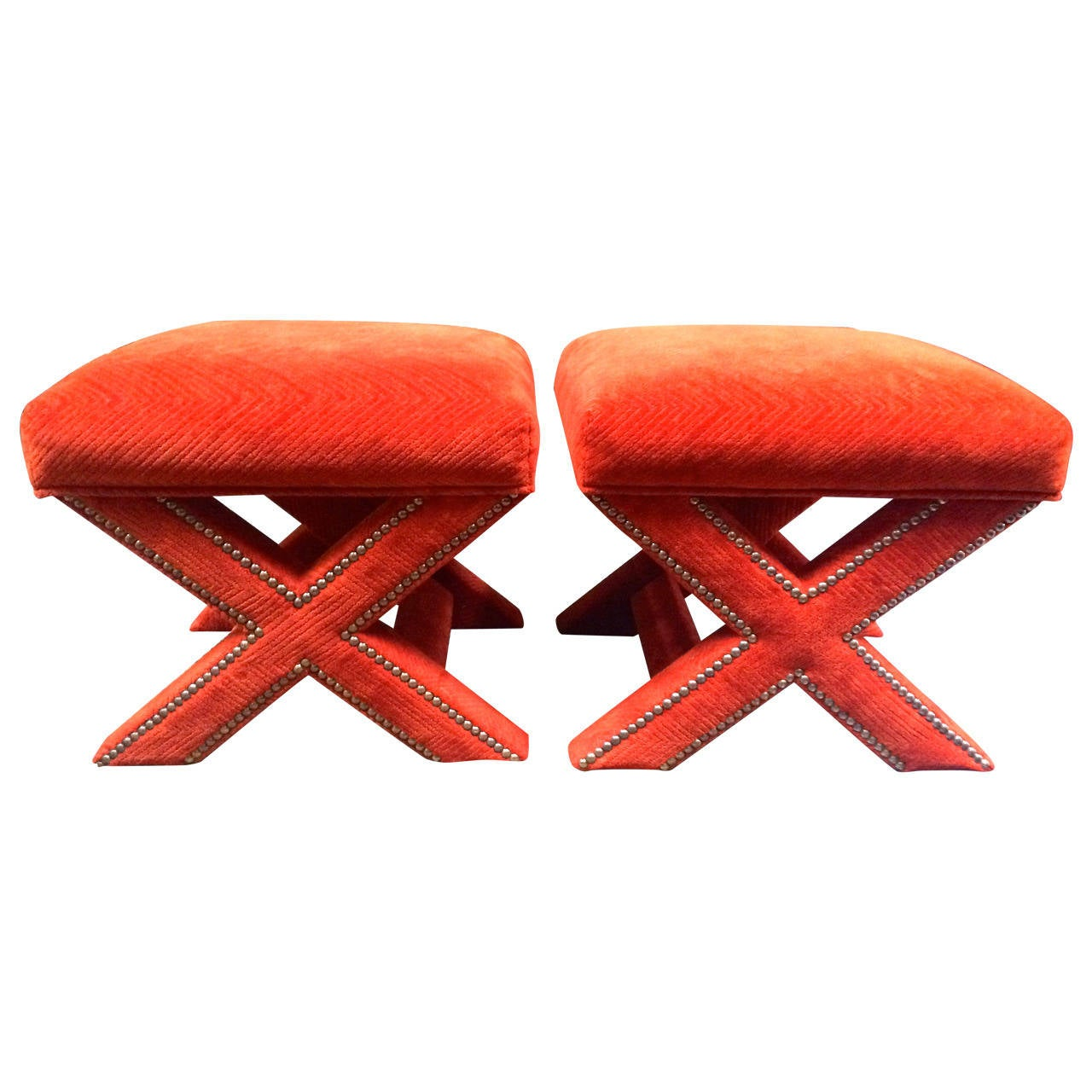 Marvelous photograph of Legs pair of orange velvet ottomans at 1stdibs with #C62B05 color and 1280x1280 pixels