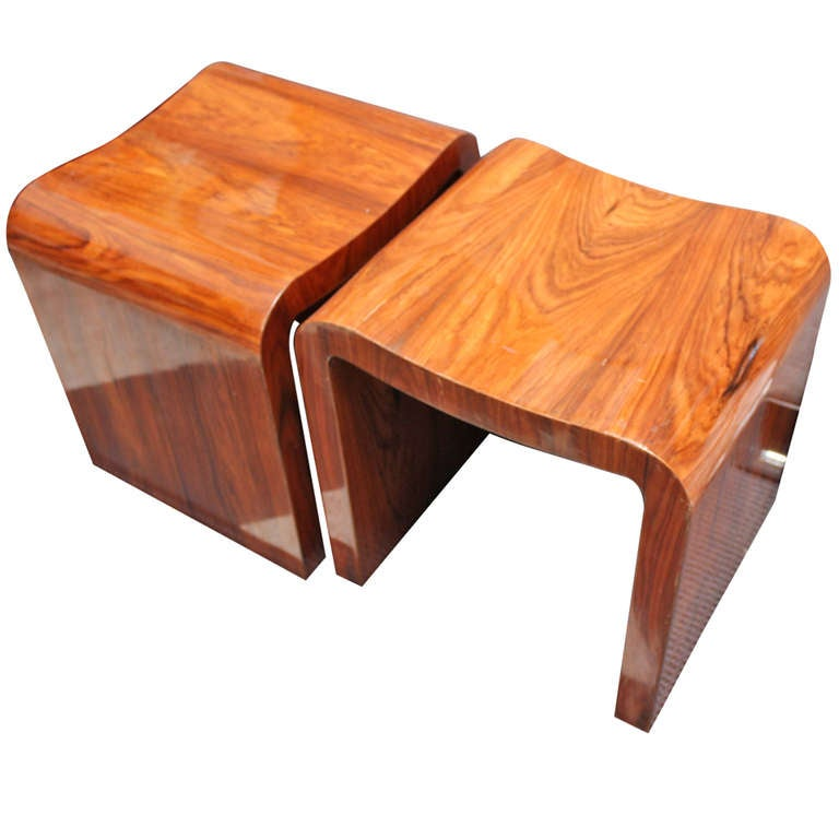 Pair Of Wooden Footstools Side Tables At 1stdibs
