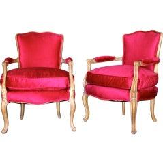 Pair of gilt W.J. Sloan chairs in Raspberry cotton velvet