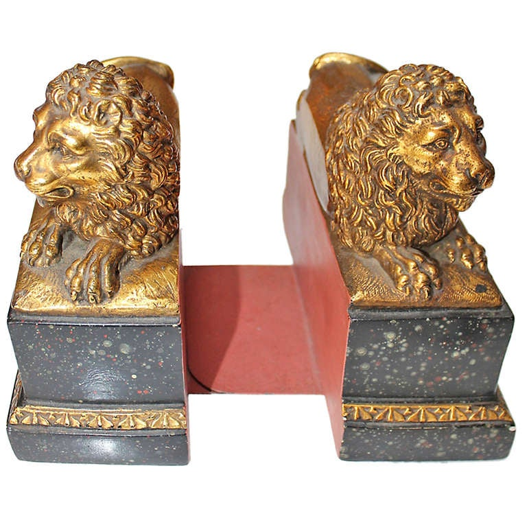 Pair Of Vintage French Quot Borghese Quot Lion Bookends At 1stdibs
