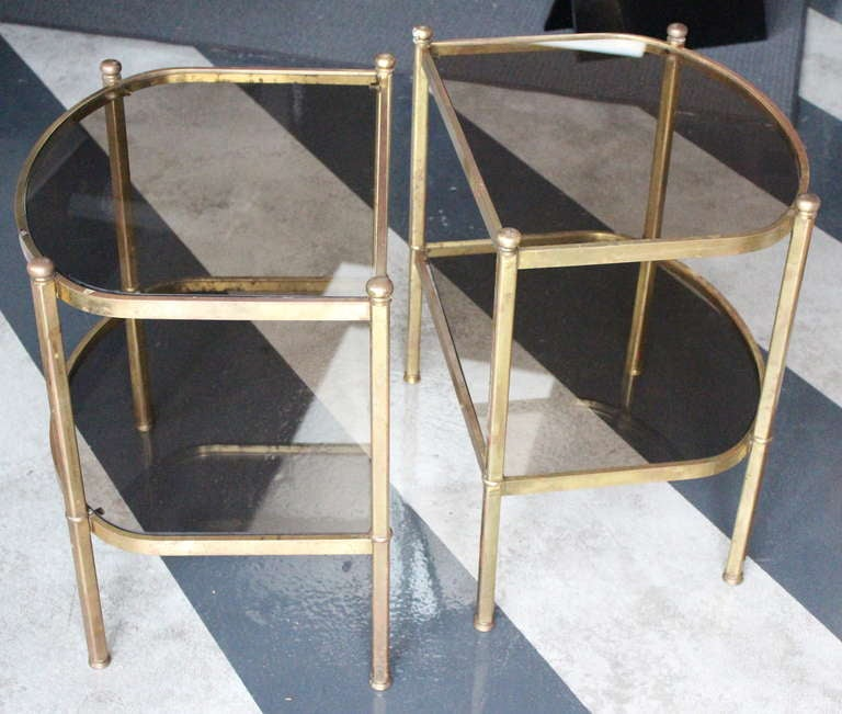 Classic Vintage French 55 Square Two Tier Brass Glass: Vintage Pair Of Half Curved, Brass, Smoked Glass End