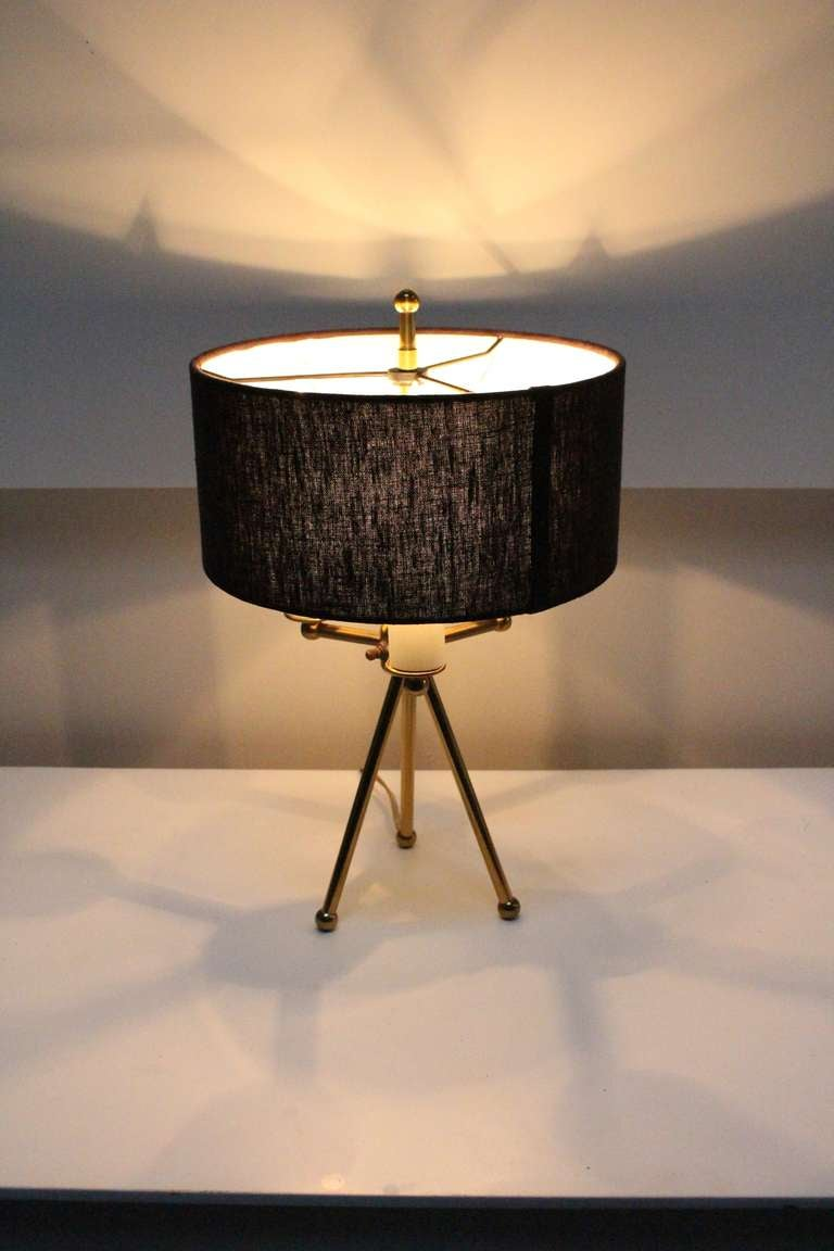 Vintage Mid Century Liteolier Brass Tripod Table Lamp With