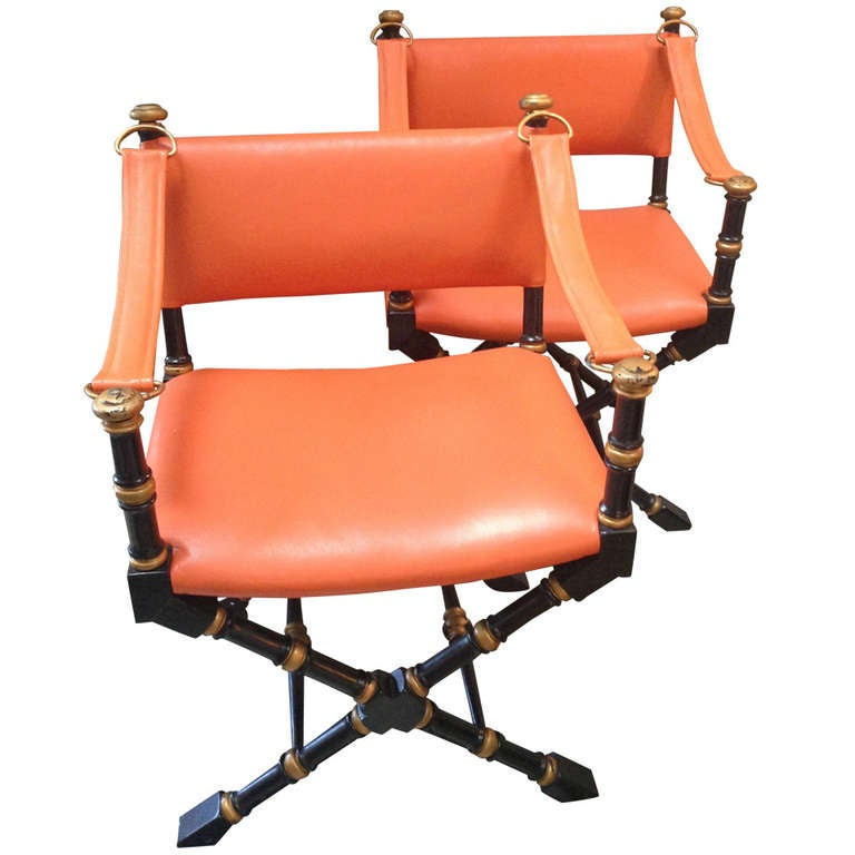 pair of mid century modern hermes orange leather campaign chairs