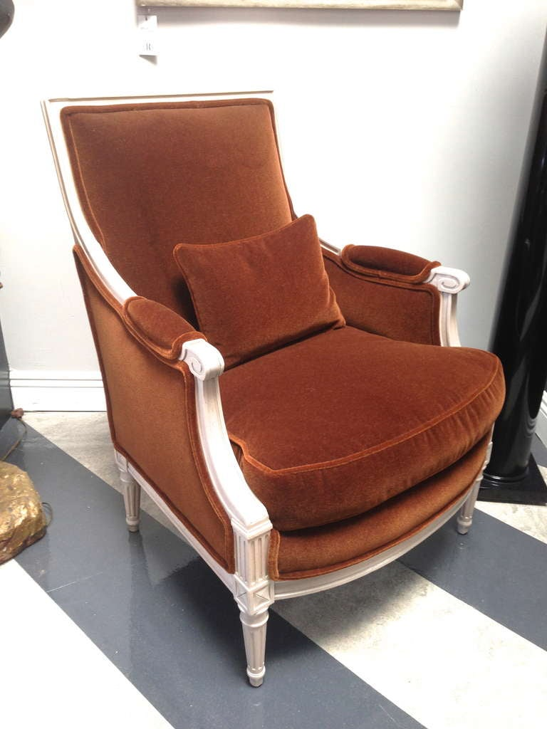Louis Xvi French Bergere Chair Upholstered In Mohair At