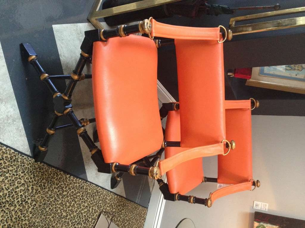 Pair Of Mid Century Modern, Hermes Orange Leather,Campaign Chairs. Painted  Black With