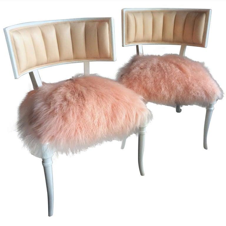 Pair Of Very Glam Newly Restored Grosfeld House Chairs 1
