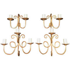 Pair of Gilt Sconces in the Manner of Royere