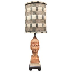 Buddhist Table Lamp with Tribal Shade