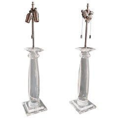 Pair of Karl Springer Lucite Column Table Lamps