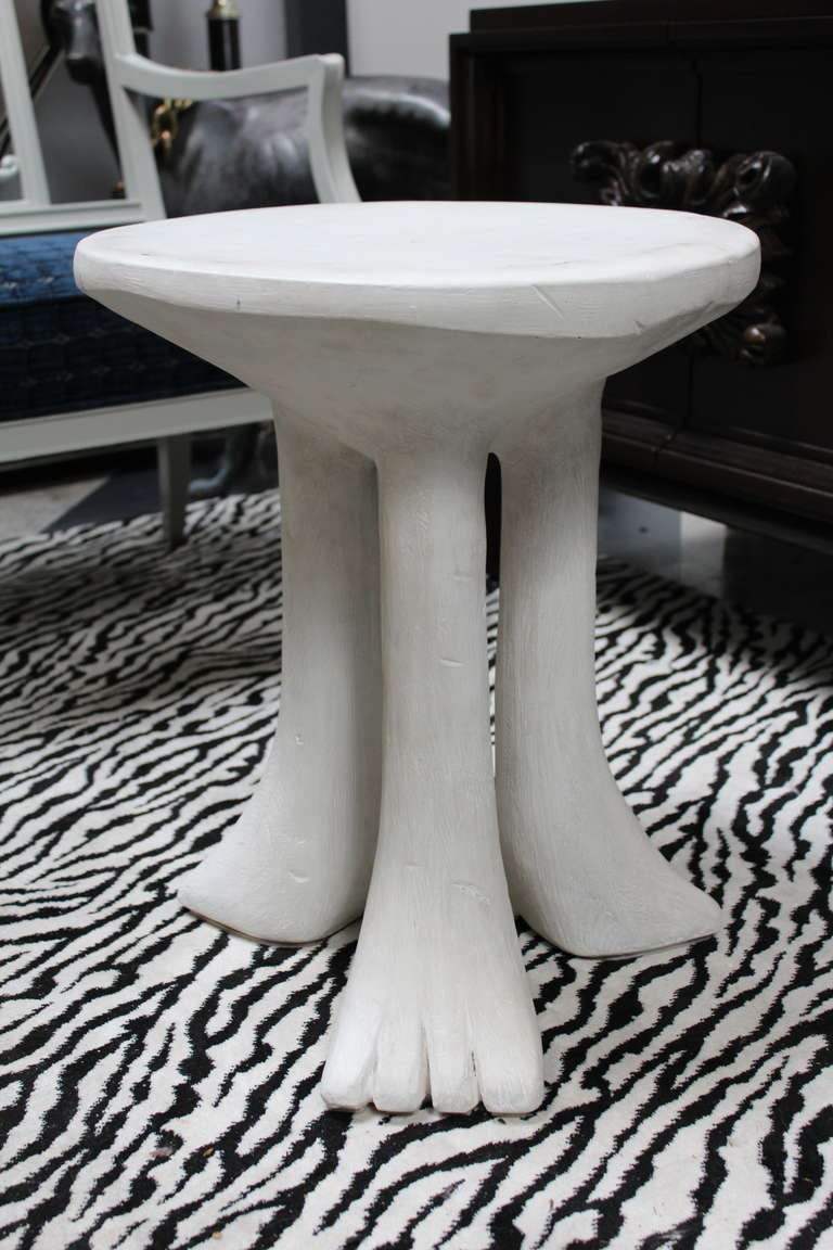 John Dickinson Plaster and Gesso African Tables. It is rare to find this African table as a pair and in such great condition Due to the rare and fragile nature of this item, the store is not responsible for shipping.
