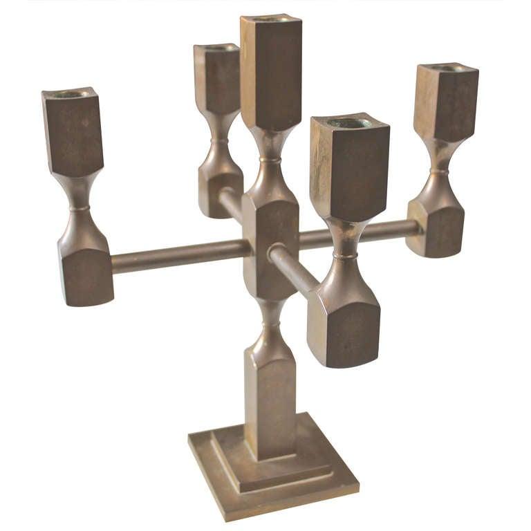 Solid Brass Modernist Candelabra