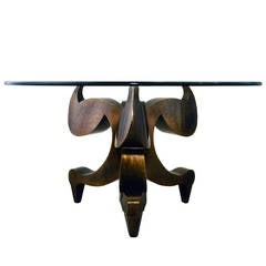 Rare Center or Dining Bronze Table, Signed Gilad Ben Artiz