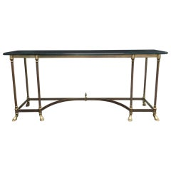 Brass Console with Glass Top