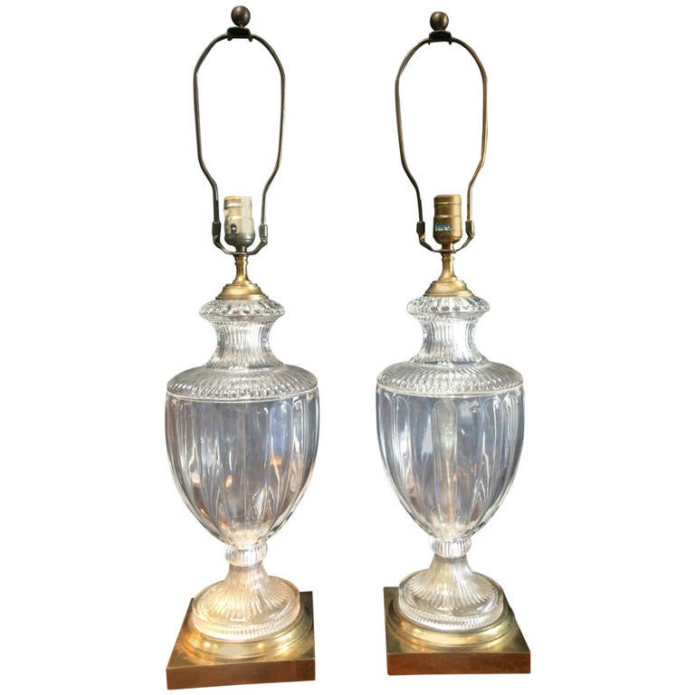 Pair of Crystal or Brass Urn Table Lamps For Sale at 1stdibs