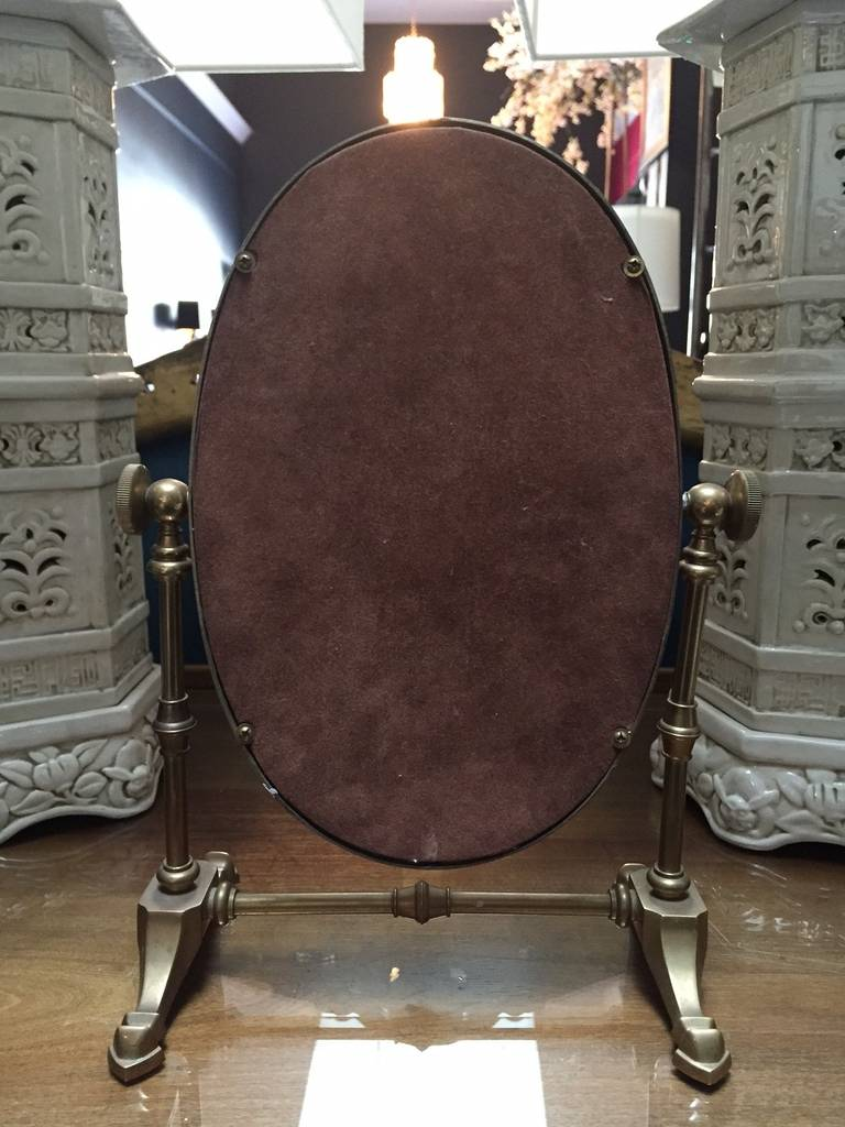 Vintage Brass Shaving Vanity Mirror At 1stdibs