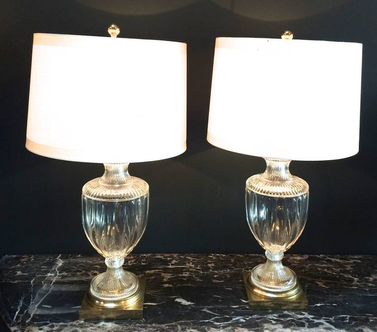 pair of crystal or brass urn table lamps for sale at 1stdibs. Black Bedroom Furniture Sets. Home Design Ideas