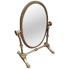 Vintage Brass Shaving / Vanity Mirror