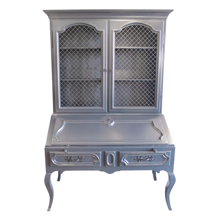 grey lacquered Secretary desk python interior at