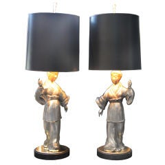 Pair of Asian Figure Zinc Lamps