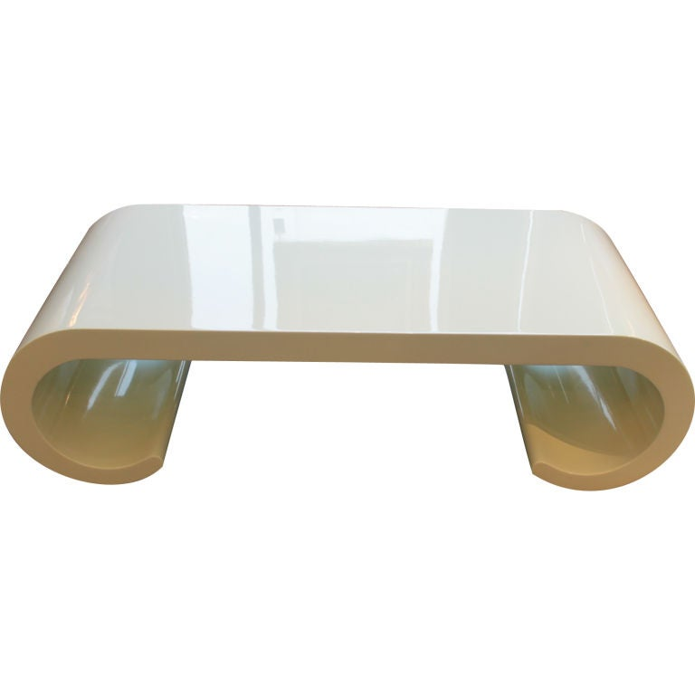 Soft Yellow Coffee Table In The Manner Of Karl Springer For Sale At 1stdibs