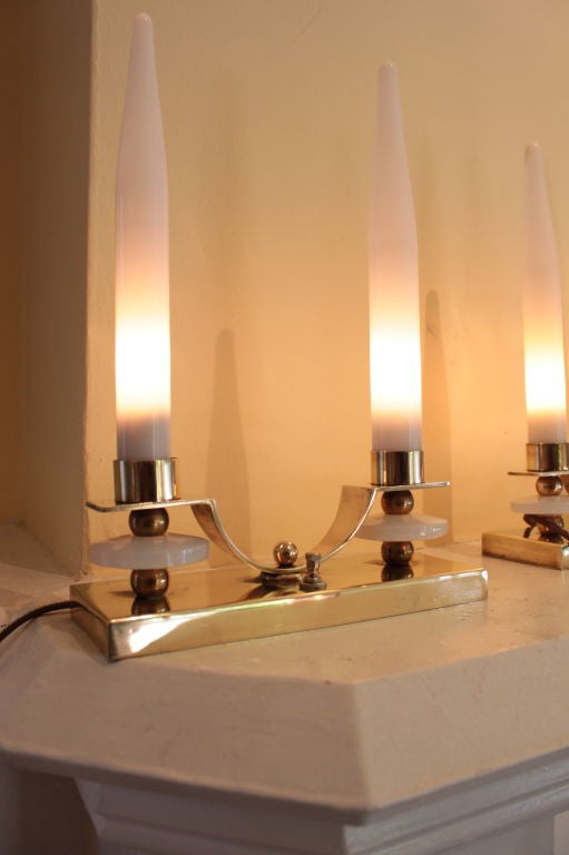 French Pair of Jacques Adnet Brass and Glass Candlestick Lamps For Sale