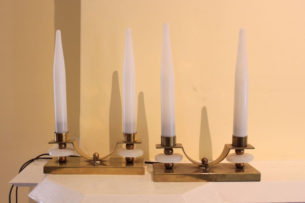 20th Century Pair of Jacques Adnet Brass and Glass Candlestick Lamps For Sale