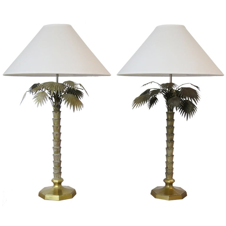 pair of vintage bronze palm tree lamps at 1stdibs. Black Bedroom Furniture Sets. Home Design Ideas