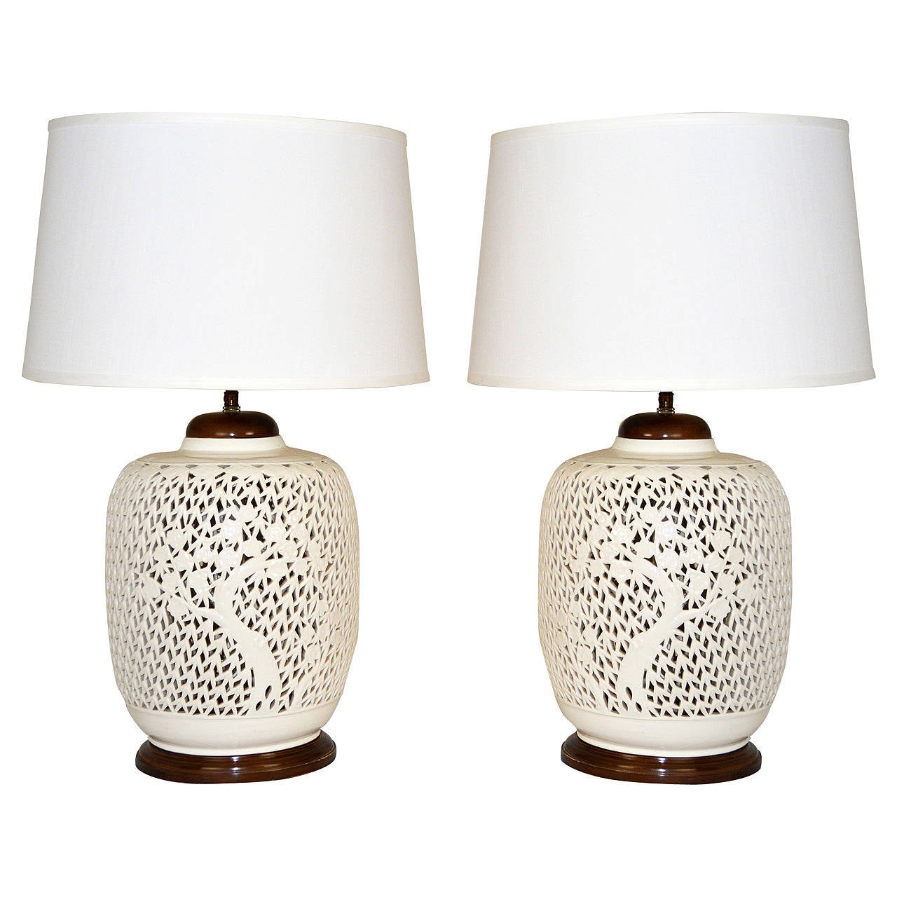 Pair Of Reticulated Porcelain Blanc De Chine Lamps At 1stdibs