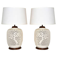 Pair of Reticulated Porcelain Blanc de Chine Lamps