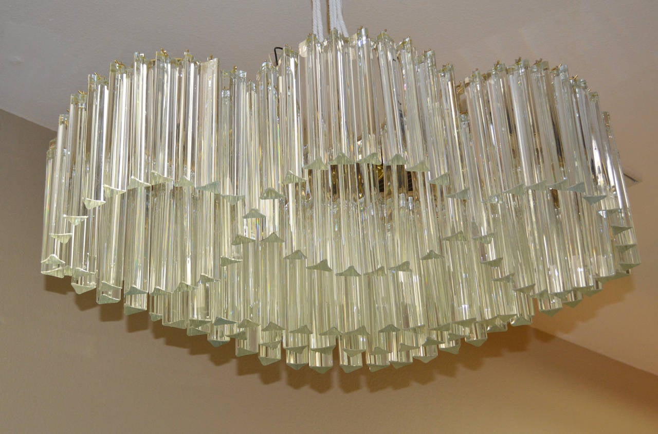 Mid-Century Modern Sculptural Mid-Century Murano Crystal Chandelier by Camer For Sale