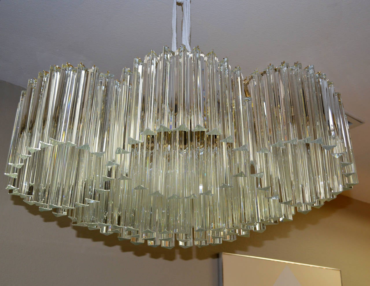 20th Century Sculptural Mid-Century Murano Crystal Chandelier by Camer For Sale