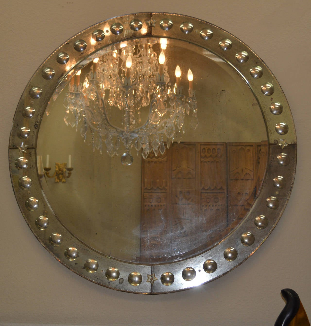 Large round vintage mirror with carved mirror panel frame for Big circle mirror