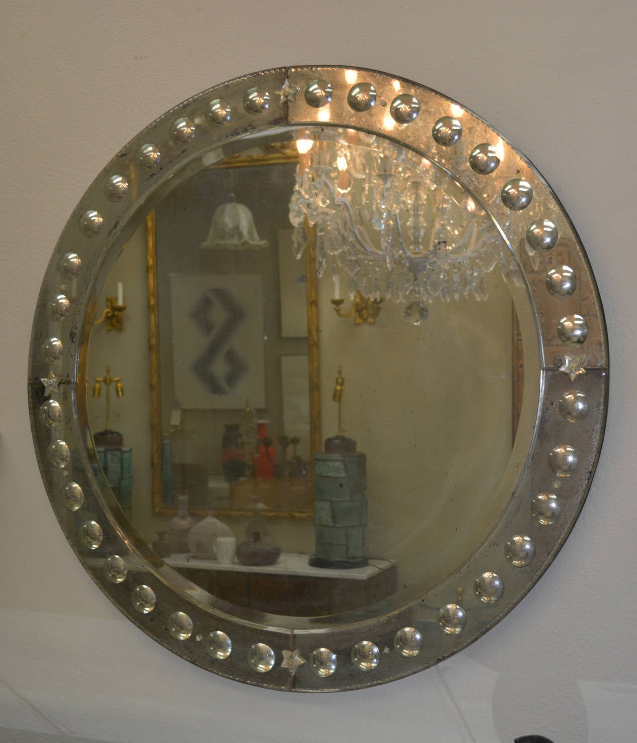 Large Round Vintage Mirror With Carved Mirror Panel Frame