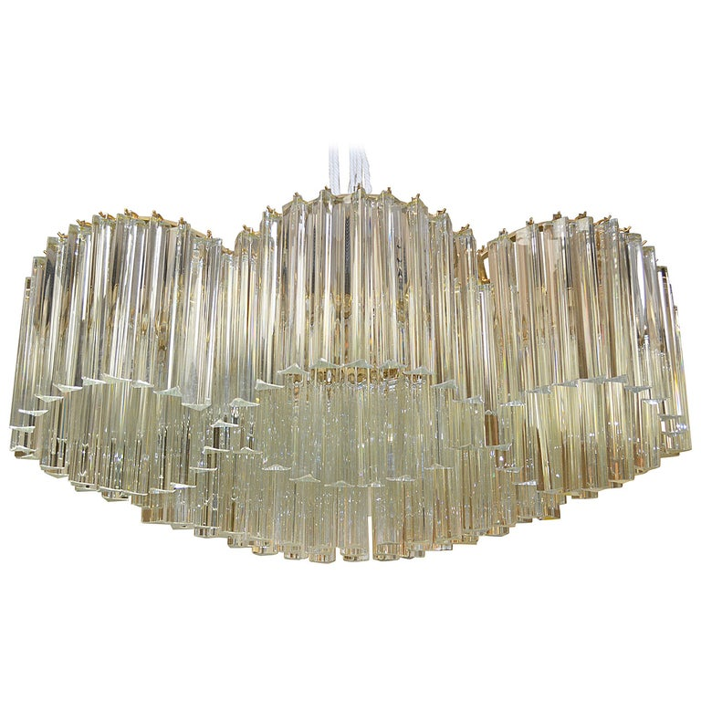 Sculptural Mid-Century Murano Crystal Chandelier by Camer For Sale