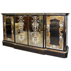 Mirrored Eglomise Cabinet with Bar