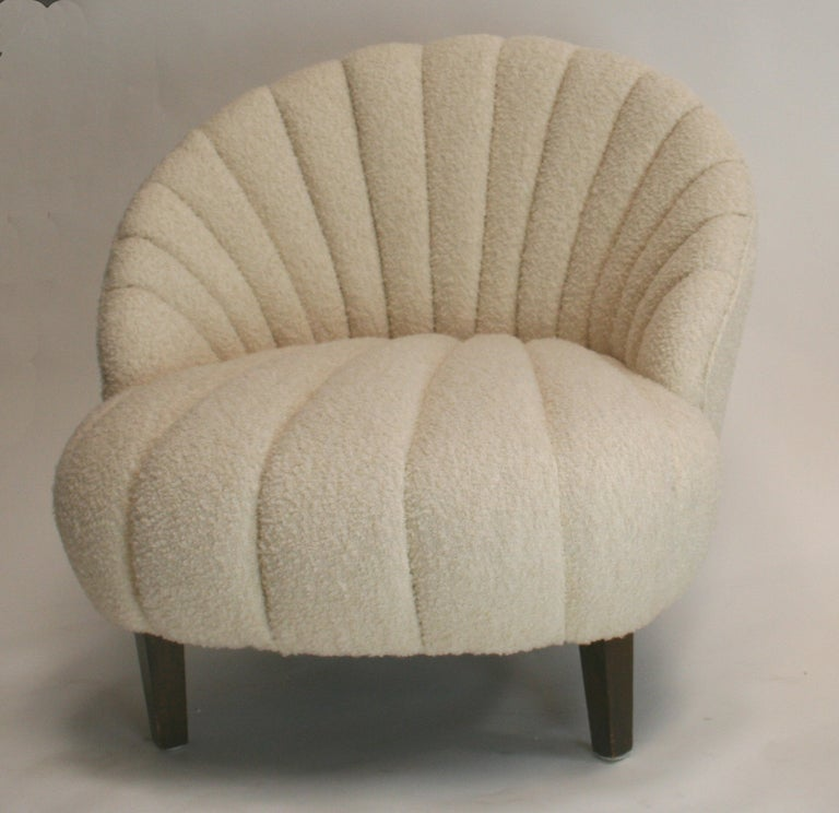 Ivory Tufted Chair Pair Of Art Deco Channel Tufted Slipper Chairs For Sale  At 1stdibs