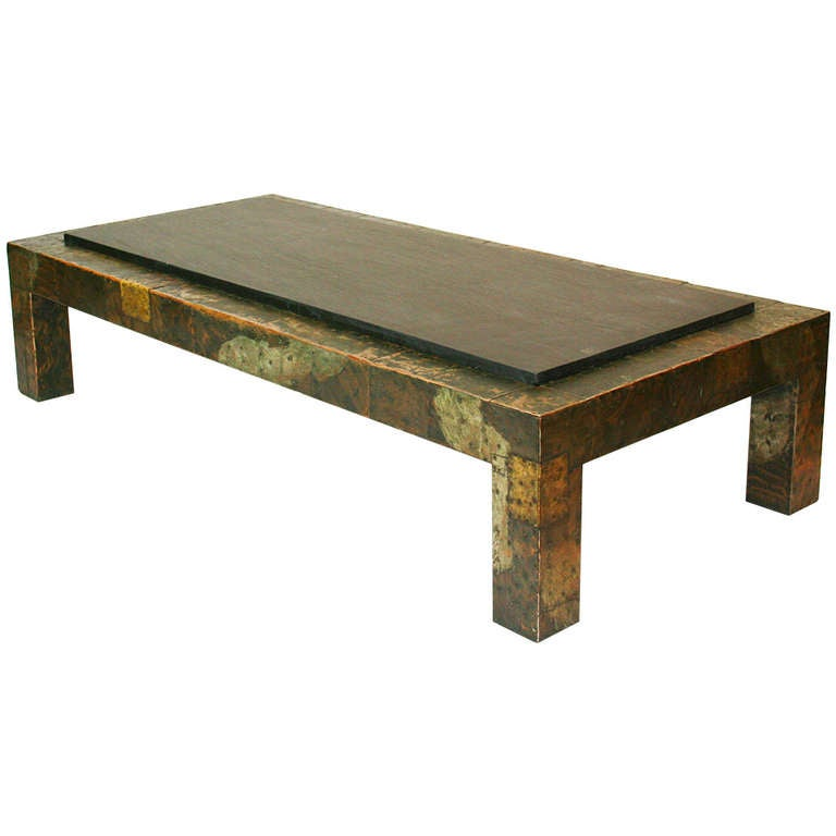 Large Paul Evans Patchwork And Slate Coffee Table For Sale At 1stdibs